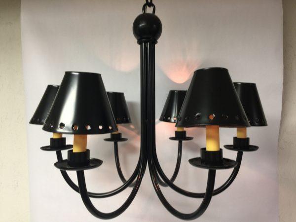 Metal chandelier shade in dark bronze