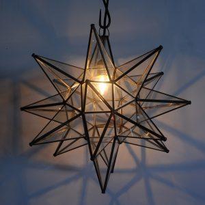 Moravian Star-Clear Glass Dark Trim