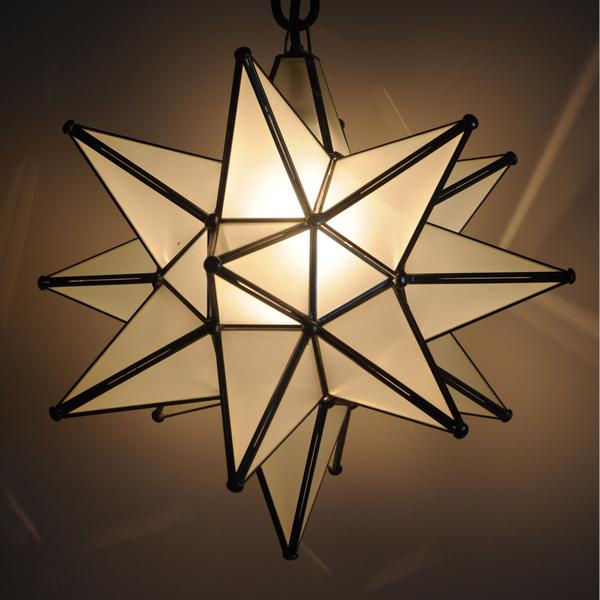 Moravian Star-Frosted Glass Dark Trim