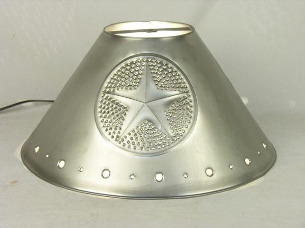 Metal Empire lamp shades pewter finish star design