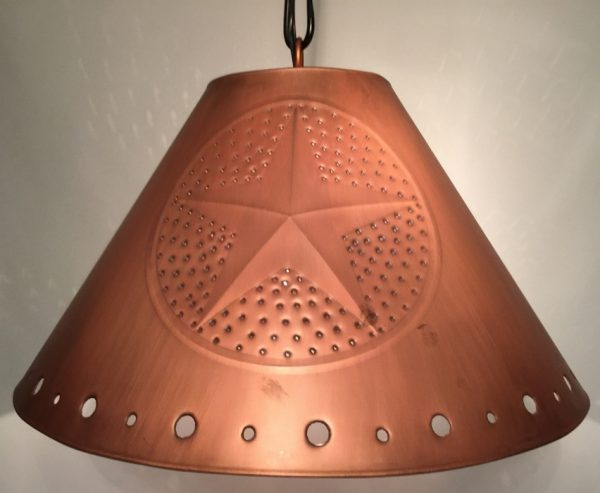 Metal Empire lamp shade with stars in copper