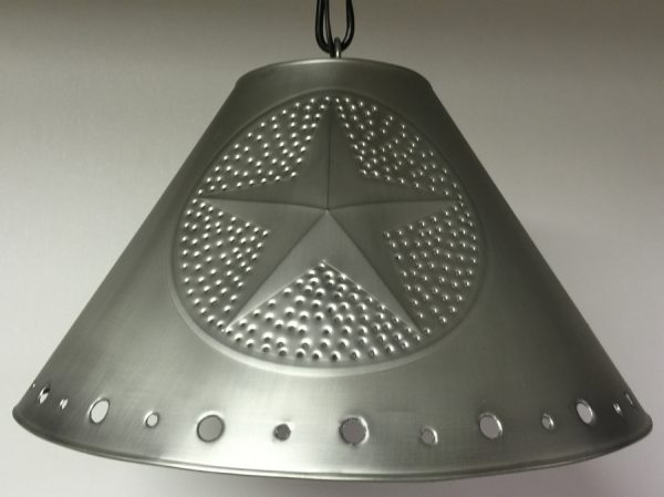 Metal Empire lamp shade with stars in pewter