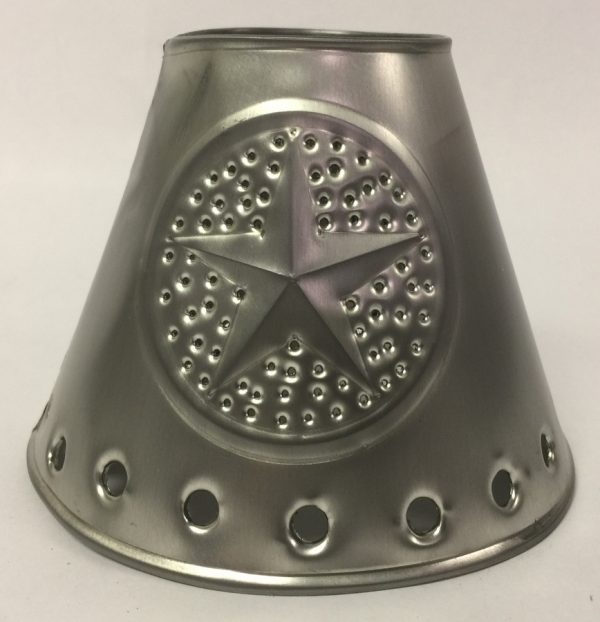 Metal chandelier shade with star design in pewter finish