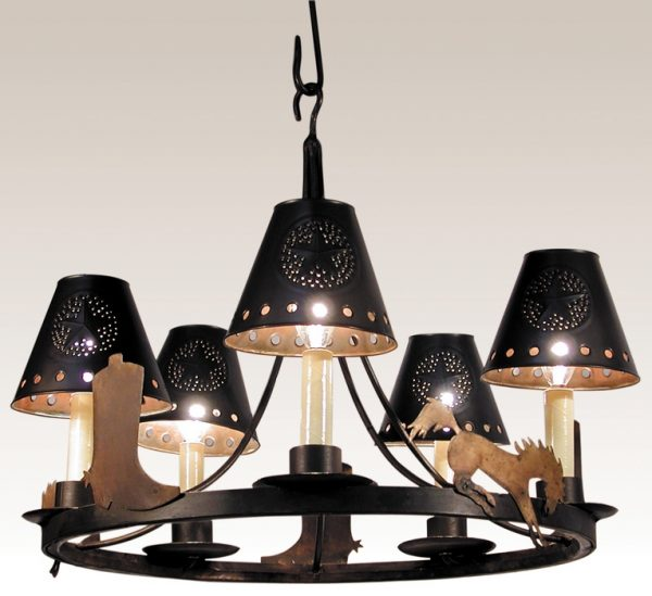 Metal chandelier shade with star design