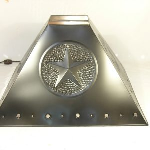 Pyramid style lamp shade star design pewter finish