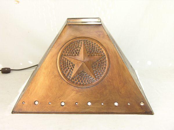 Pyramid style lamp shade star design copper finish