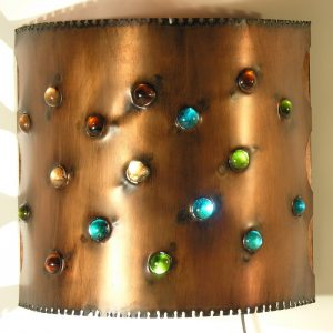Cylindrical Sconce with Glass Marbles