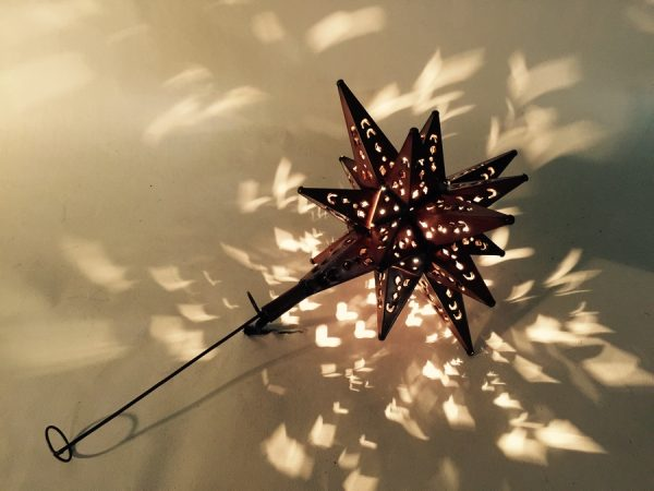 Tin Moravian Star Light Tree Topper with Copper Finish