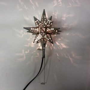 Tin Moravian Star Light Tree Topper with Pewter Finish