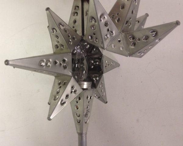 Moravian star light tree topper pewter finish
