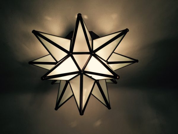 Frosted Glass Moravian Star Ceiling Ligh