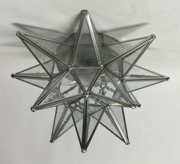 Glass Moravian Star Ceiling Light with seedy glass
