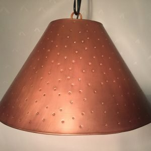 Metal empire lamp shade in copper with berber dots