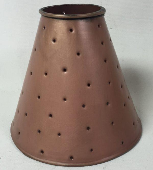 Ceiling fan lamp shade tin berber dots in copper finish