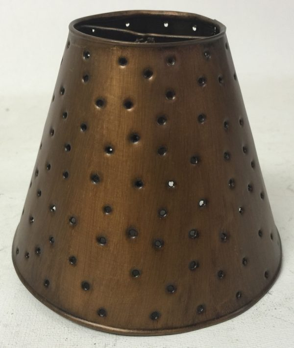 Metal chandelier sconce shade with berber dots in antique finish
