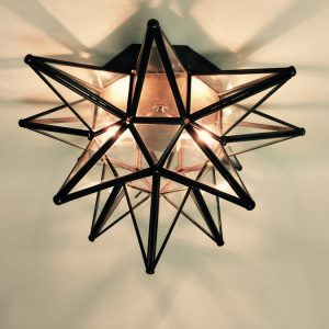 Glass Moravian Star Ceiling Light/Wall Sconce