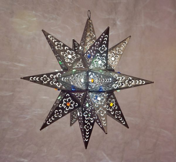Tin Moravian Star with Marbles